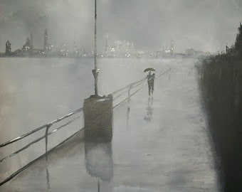 A Romantic walk in the rain painting (Published)
