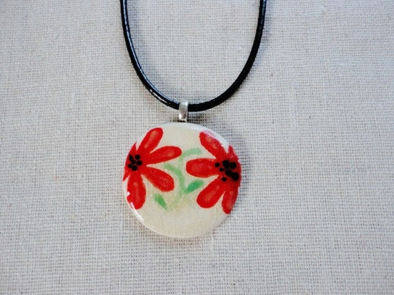Handmade Ceramic Necklace, Clay Red Flower Pendant on Cotton Cord and with Magnetic Closure, Round, White, Artisan