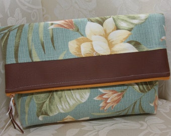 Raw Edge Fold-over Clutch in Minty Floral Topped in Brown Faux Leather