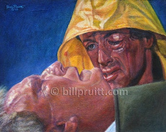 Sylvester Stallone Rocky Balboa Rocky 3 Mickey art print 12x16 signed and dated Bill Pruitt