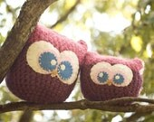 Owl Pillow, Pink and Purple, Crochet Owl, Made To Order