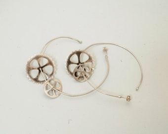"""sterling silver ,""""gearwheels"""", big hoop earrings"""