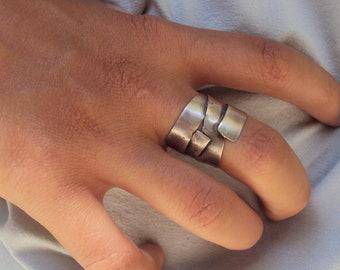 """silver """"ribbon"""" ring"""