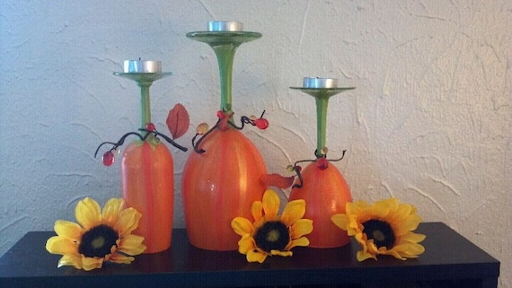 Pumpkin Patch Wine Glass Candle Holders Centerpiece Set of 3