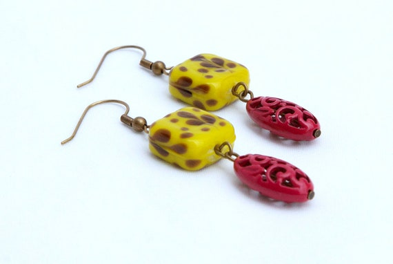 Yellow and Pink Flower Filagree Earrings