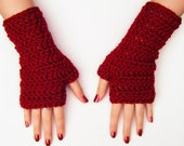 Red Fingerless Gloves Autumn Accessories Chunky Crochet Mittens