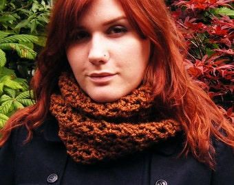 Brown Cowl Hand Crochet Chunky Scarf Autumn Accessory