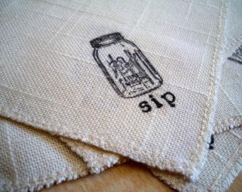 Mason Jar Cloth Beverage Napkins in black and white