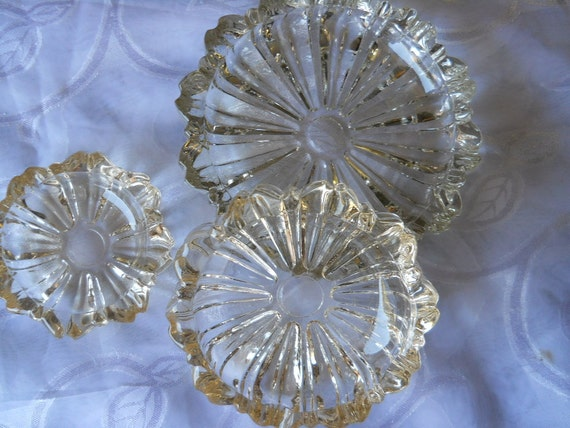 Flower Glass Ashtray set Candy Dish 1960s stack able vintage collectible crystal jewelry bowl