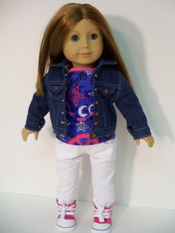 American Girl Doll Clothes Denim Jacket, Skinny Jeans, Top, Sneakers, Necklace