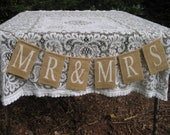 Rustic Wedding Burlap Banner Mr and Mrs Sign