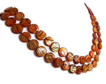 Indian Summer Striped Extra Long Shell Pearl Necklace, Orange and Brown