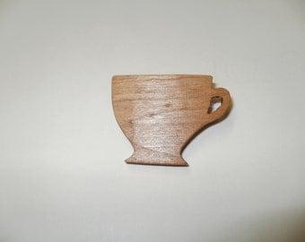 tea cup brooch wood