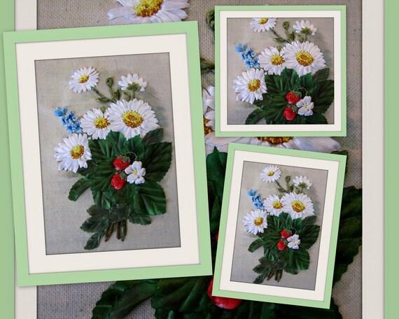 Items similar to ribbon embroidery wall art daisies and