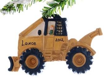 Log Skidder Christmas ornament - yellow personalized skidder ornament - personalized free