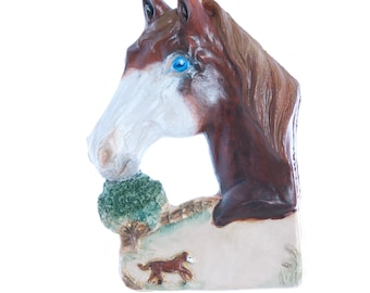 Cheastnut - Dune Blue eyed horse ornament - personalized with name of your choice (h2)