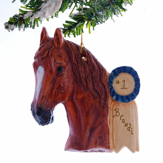 Personalized Show Horse Ornament - Blue ribbbon horse christmas ornament, handmade and personalized free.