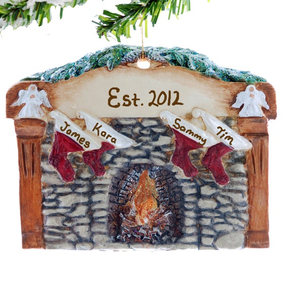 Fireplace family of 4 christmas ornament personalized for Family of 4 christmas ornament