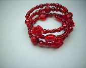 Memory wire wrapped bracelet christmas red