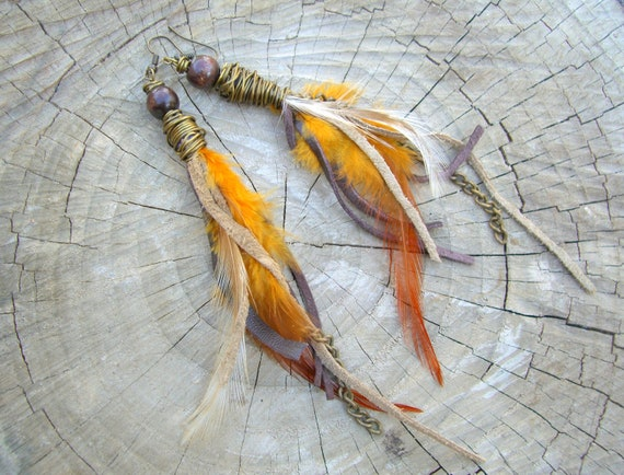 Feather & Leather Earrings - orange, brown