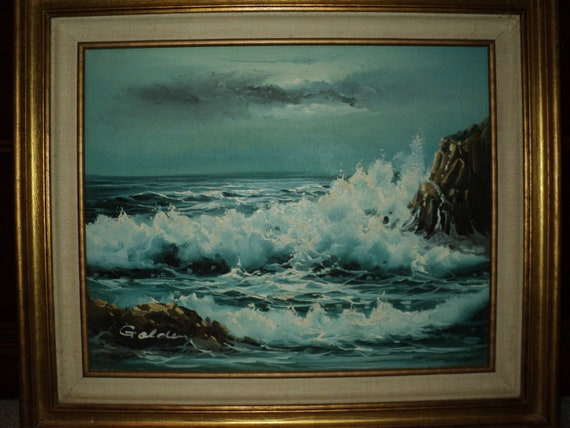 WAVES CRASHING into the SHORE Original Oil Painting
