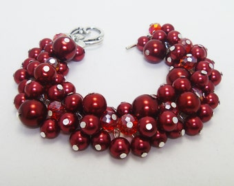 Red Pearl Bracelet, Cluster Pearl Bracelet, Red Pearl Bracelet, Bridesmaid Red Jewelry, Wedding Jewelry, Bridal Jewelry, Red Chunky Bracelet