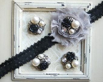 "4 Metal BLACK Flower Pearl Cluster Buttons Flatback (010)- 1"""