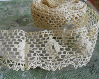 1940's Ecru Cotton Crocheted Trim