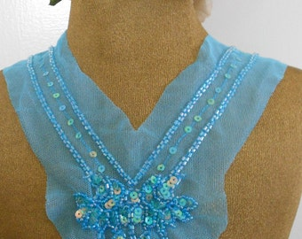 Blue Beaded Sequined Appliques
