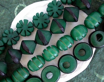 Buri Nut Beads, Buri Seed Beads, Natural Buri Nut Beads, Buri Palm Nut Beads, Mixed Lot of Beads  NAT-189