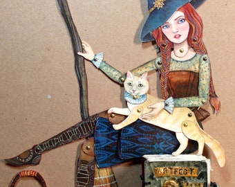 Good Witch, Lazy Owl and Yellow Cat Jointed Paper Dolls Kit