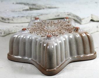 vintage brown glazed mold-Pottery Bay Cerabak earthenware West Germany
