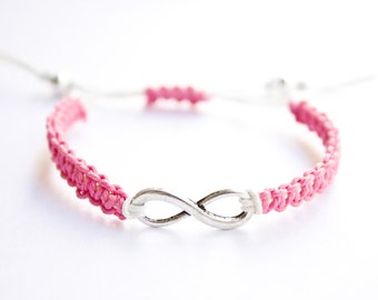 Infinity Bracelet Pink and White Hemp or Cotton Cord Friendship Bracelet For Her