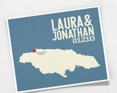 Jamaica Wedding Gift - Personalized Jamaican Map - Custom Destination - Date - Location City and Country Modern Art Print - 8x10 Kingston