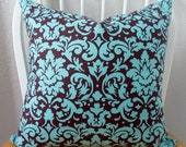 Pillow Cover 18x18in Chocolate and Turquoise Damask Pattern