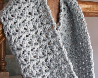 Infinity Scarf Crocheted in Beautiful Glacier Yarn, Winter Scarf ,Thick and Warm