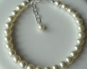 Simple Swarovski Crystal Pearl Bracelet, Bridesmaids Gift Set Bracelet, Wedding Bride Bracelet