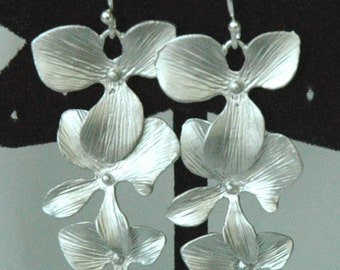 Sterling Silver  Simple Orchid Flowers  Dangle Earrings