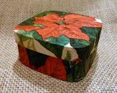 Christmas Gift Box decoupaged with Poinsettias design