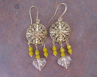 Golden Filigree Bohemian Gypsy Leaf Chandelier Earrings
