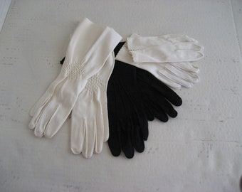 Vintage Black and White Gloves Formal Wedding Holiday Party Three Pair