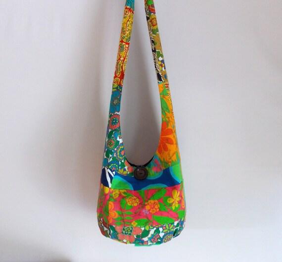 Vintage Patchwork Hobo Bag, Sling Bag, Pieced Quilt Top, Crazy Quilt, Retro, Polka Dots, Floral, Tribal, Boho Bag, Hippie Purse