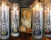 Altar Candle decals for pillar candles,  elemental quarters or Watchtowers - Ceremonial Magic - Ritual