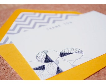 Flat Note Thank You Stationery Set with Chevron Liners