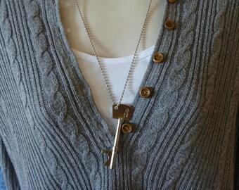 Bottle Opener Key Shaped - Skeleton Bottle Key Opener Necklace - Key Necklace - Dad Gift - Brother Gift - Groomsmen Gift