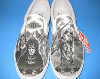 Lord of the Rings Custom Made Shoes Featuring Legolas and elfin script around shoes ARTWORK and SHOES INCLUDED