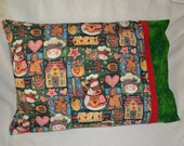 Handmade Pillowcase Single Only Novelty Print Quality Cotton Gingerbread Snowmen Holiday