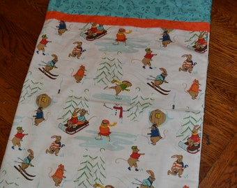 Handmade Pillowcase Single Only Novelty Print Quality Cotton Pillowcase Winter Scene Skaters