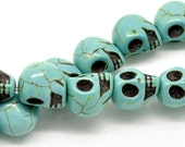 Howlite Turquoise Beads - Halloween Skulls  - Loose - 12x10mm - 1 Strand (Approx. 30pcs) - Ships IMMEDIATELY from California - B299