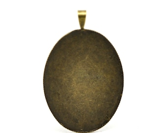 Oval Setting Pendants - Antique Bronze - Cabochon Settings - 47x30mm - 5pcs- Ships Immediately from California - BC396